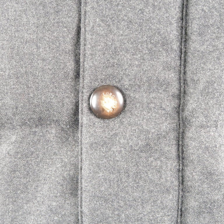 LORO PIANA M Charcoal Quilted Wool Jacket In Excellent Condition For Sale In San Francisco, CA