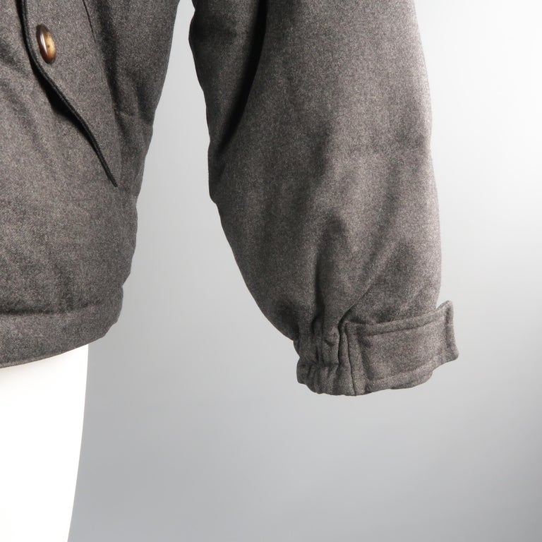 Men's LORO PIANA M Charcoal Quilted Wool Jacket For Sale