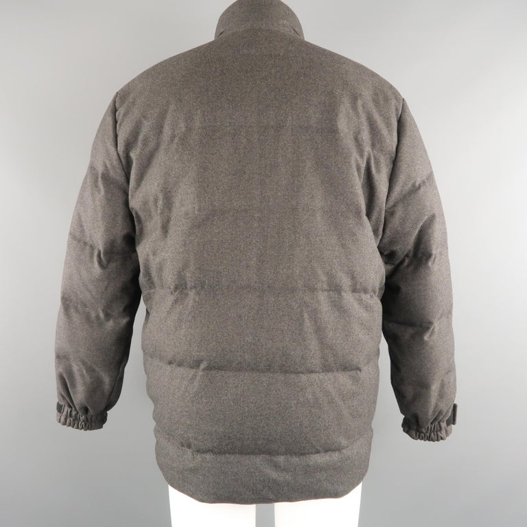 LORO PIANA M Charcoal Quilted Wool Jacket For Sale 1