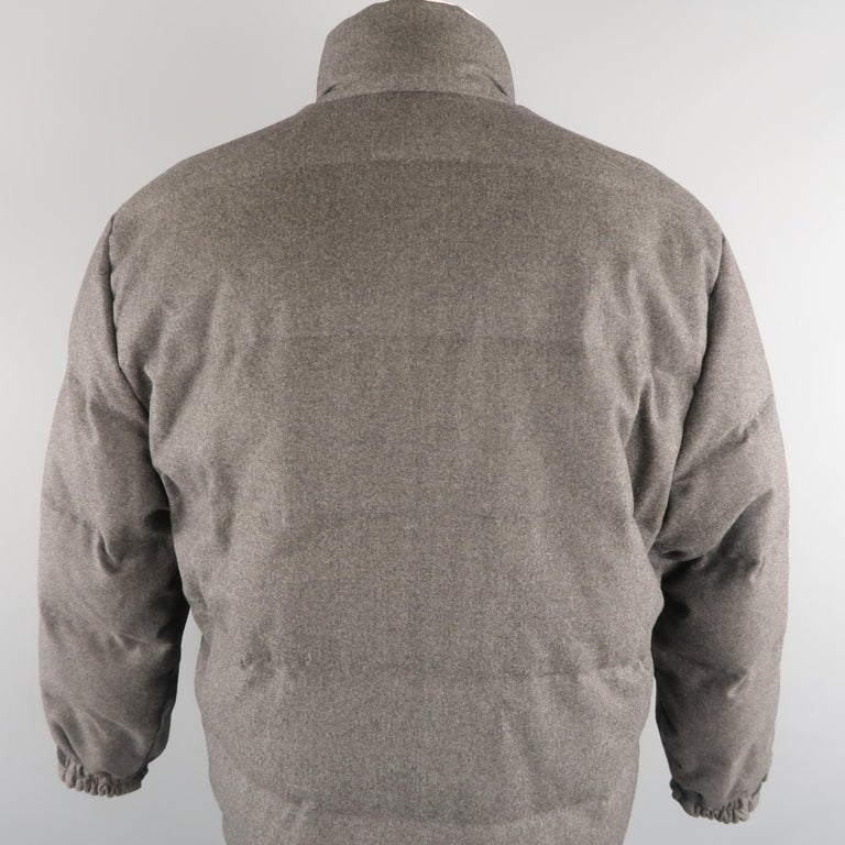 LORO PIANA M Charcoal Quilted Wool Jacket For Sale 2