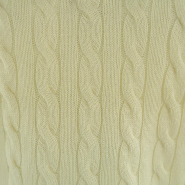 Beige BRUNELLO CUCINELLI Size 44 Cream Cable Knit Cashmere Henley Sweater For Sale