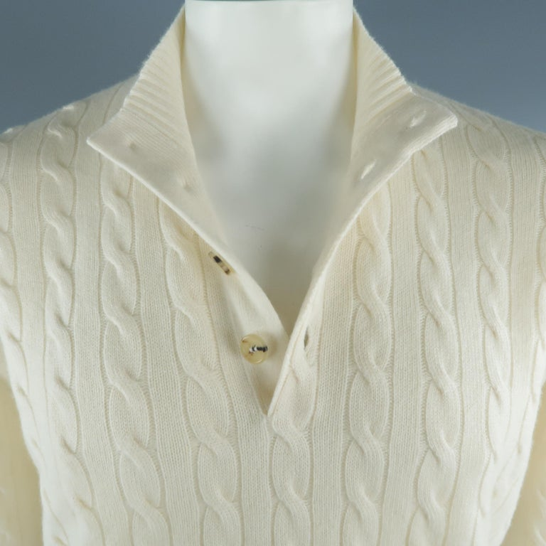 BRUNELLO CUCINELLI Size 44 Cream Cable Knit Cashmere Henley Sweater In New Condition For Sale In San Francisco, CA