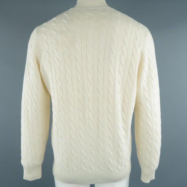 Men's BRUNELLO CUCINELLI Size 44 Cream Cable Knit Cashmere Henley Sweater For Sale