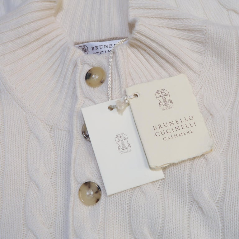 BRUNELLO CUCINELLI Size 44 Cream Cable Knit Cashmere Henley Sweater For Sale 4