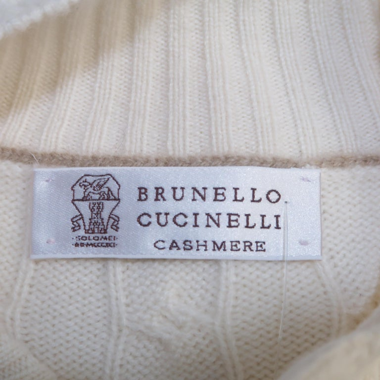 BRUNELLO CUCINELLI Size 44 Cream Cable Knit Cashmere Henley Sweater For Sale 5