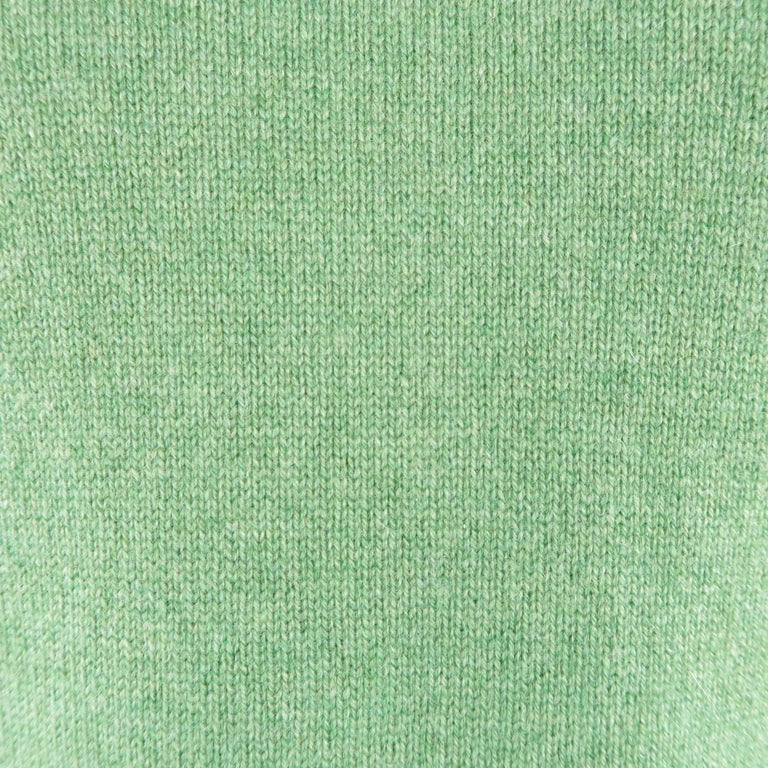 Men's BRUNELLO CUCINELLI Size 42 Green Knitted Cashmere Elbow Pads Sweater In Excellent Condition For Sale In San Francisco, CA