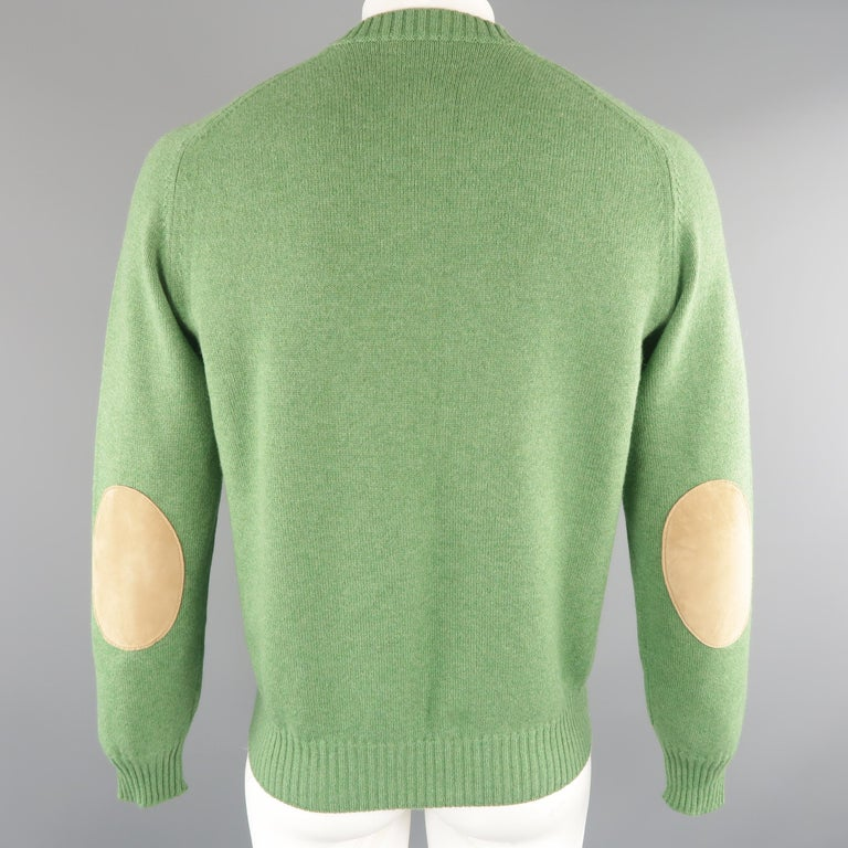 Men's BRUNELLO CUCINELLI Size 42 Green Knitted Cashmere Elbow Pads Sweater For Sale 1