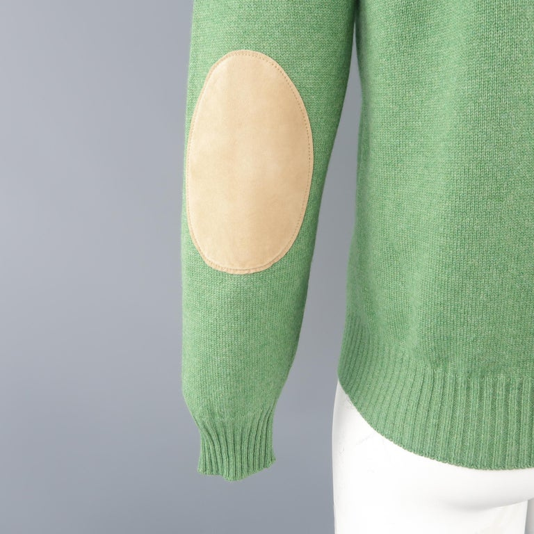 Men's BRUNELLO CUCINELLI Size 42 Green Knitted Cashmere Elbow Pads Sweater For Sale 3