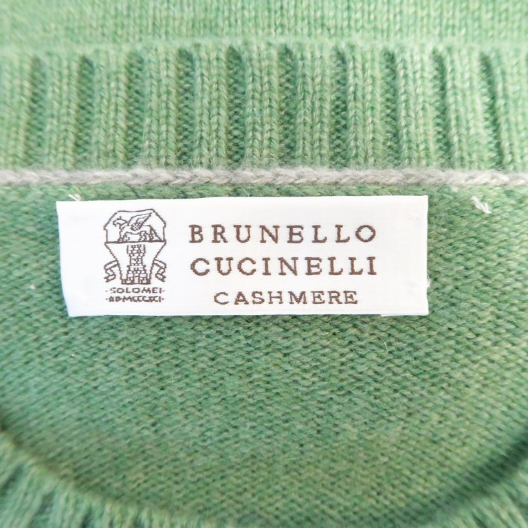 Men's BRUNELLO CUCINELLI Size 42 Green Knitted Cashmere Elbow Pads Sweater For Sale 5