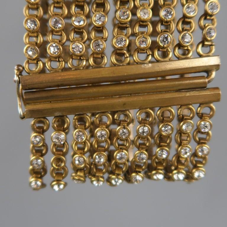 CHANEL Vintage Antique Gold Brass Rhinestone Chain Cuff Bracelet, 1950s For Sale 4