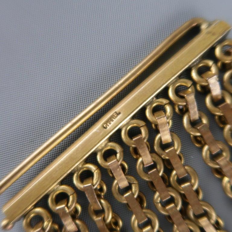 CHANEL Vintage Antique Gold Brass Rhinestone Chain Cuff Bracelet, 1950s For Sale 6