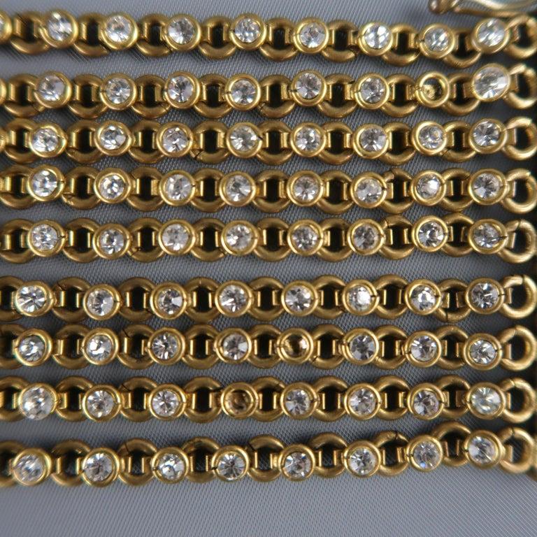 CHANEL Vintage Antique Gold Brass Rhinestone Chain Cuff Bracelet, 1950s For Sale 5