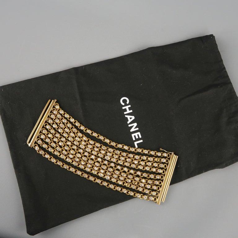 CHANEL Vintage Antique Gold Brass Rhinestone Chain Cuff Bracelet, 1950s For Sale 7