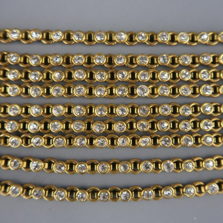 CHANEL Vintage Antique Gold Brass Rhinestone Chain Cuff Bracelet, 1950s In Good Condition For Sale In San Francisco, CA