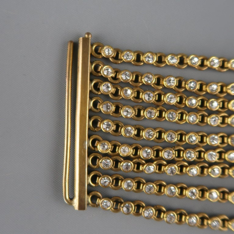 Women's CHANEL Vintage Antique Gold Brass Rhinestone Chain Cuff Bracelet, 1950s For Sale