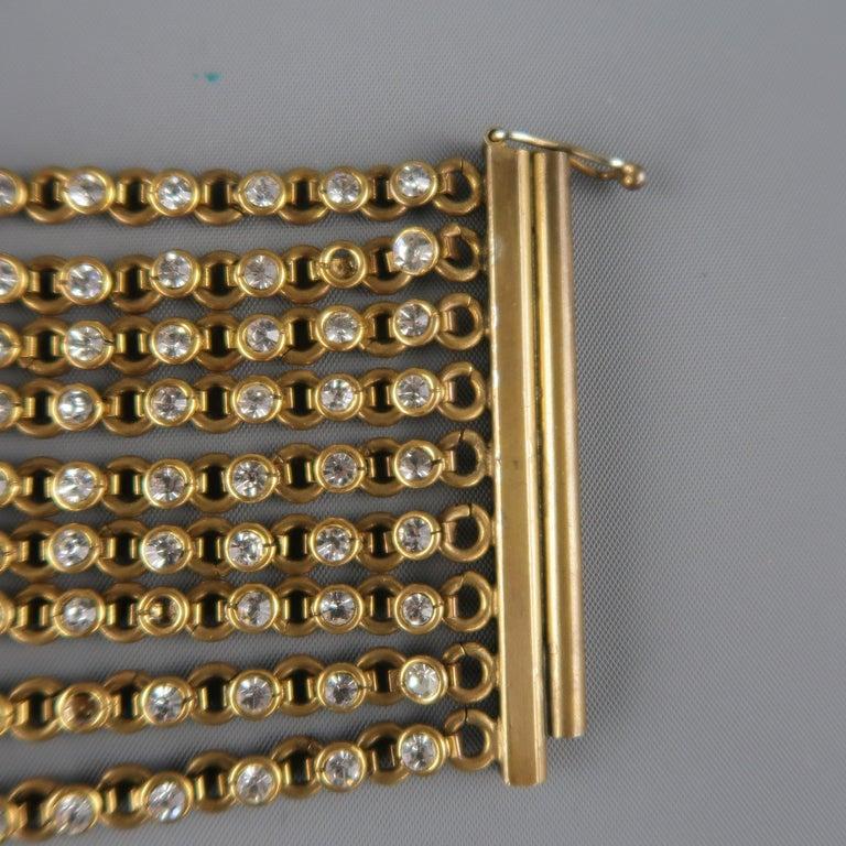 CHANEL Vintage Antique Gold Brass Rhinestone Chain Cuff Bracelet, 1950s For Sale 1
