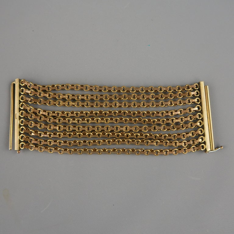 CHANEL Vintage Antique Gold Brass Rhinestone Chain Cuff Bracelet, 1950s For Sale 2