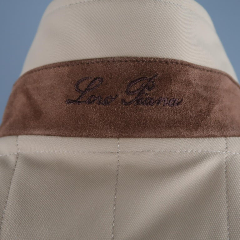 LORO PIANA XL Khaki Quilted Nylon Zip Up Vest For Sale 2