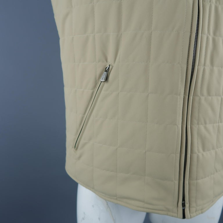 Brown LORO PIANA XL Khaki Quilted Nylon Zip Up Vest For Sale