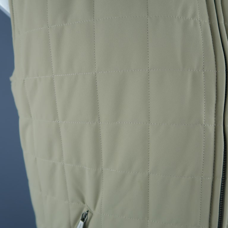 LORO PIANA XL Khaki Quilted Nylon Zip Up Vest In Excellent Condition For Sale In San Francisco, CA