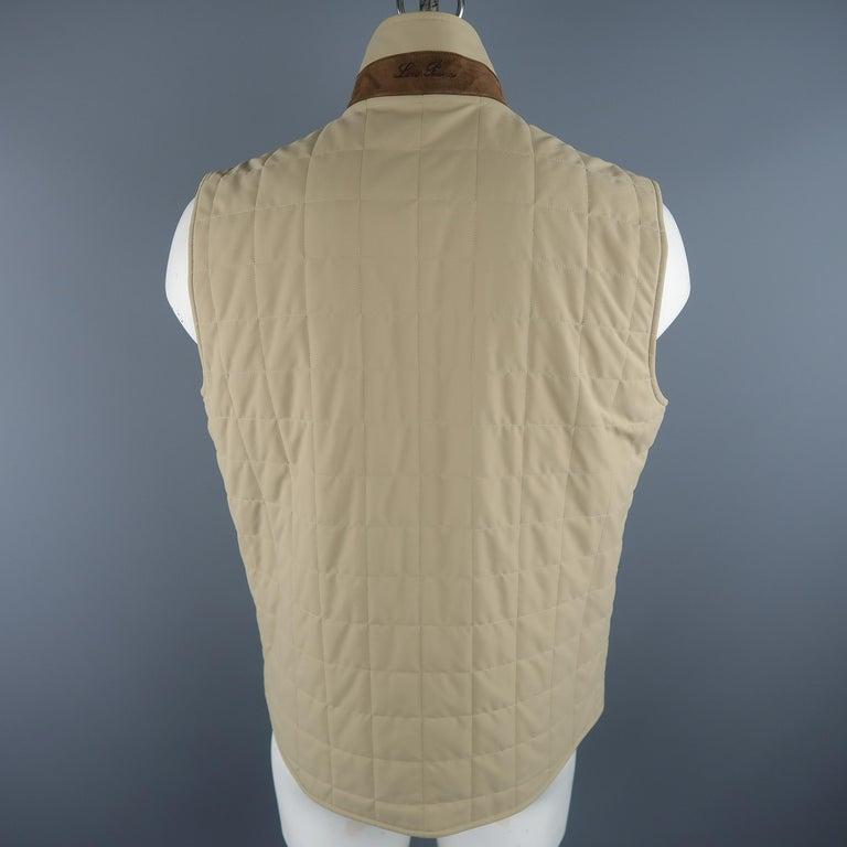 Men's LORO PIANA XL Khaki Quilted Nylon Zip Up Vest For Sale