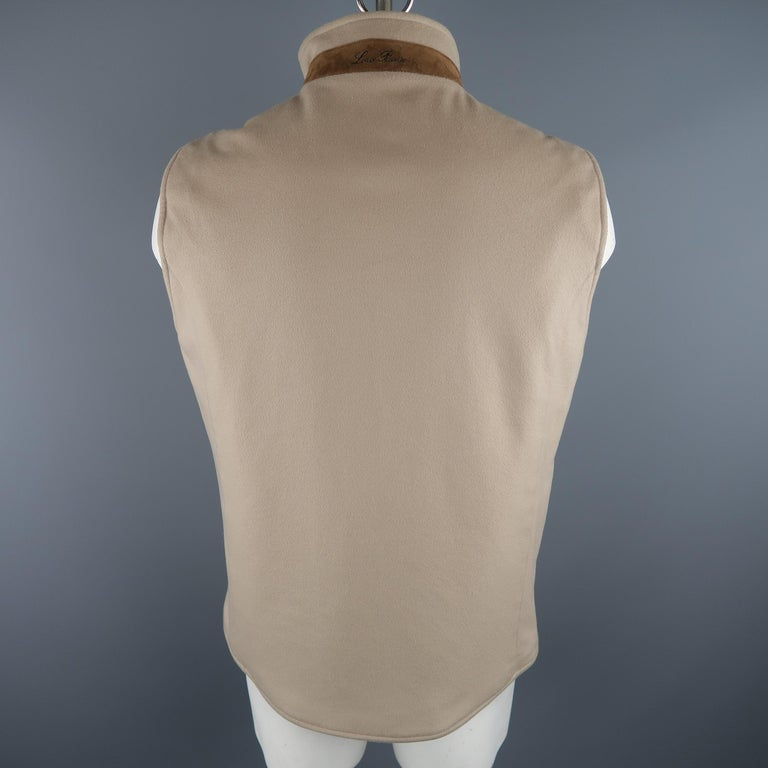 LORO PIANA XL Oatmeal Solid Cashmere Vest In Excellent Condition For Sale In San Francisco, CA