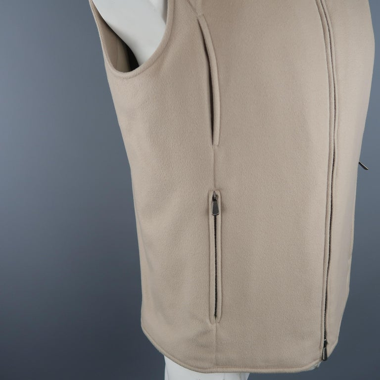 Brown  LORO PIANA XL Oatmeal Solid Cashmere Vest For Sale