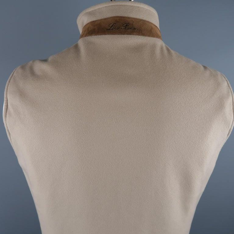 Men's  LORO PIANA XL Oatmeal Solid Cashmere Vest For Sale