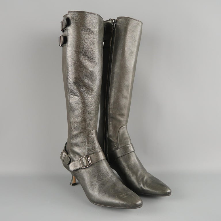 MANOLO BLAHNIK boots come in slate gray leather with a pointed toe, kitten heel, and strap buckle details. Made in Italy.   Good Pre-Owned Condition. Marked: IT 36.5   Measurements:   Heel: 2 in. Height:  15 in.
