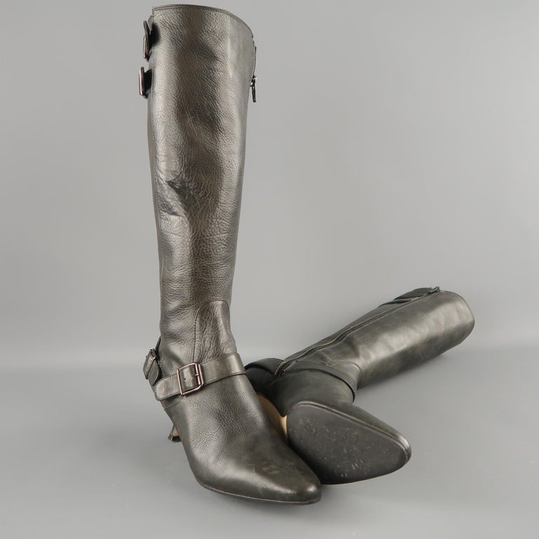 MANOLO BLAHNIK Size 6.5 Slate Gray Leather Pointed Knee High Boots In Good Condition For Sale In San Francisco, CA