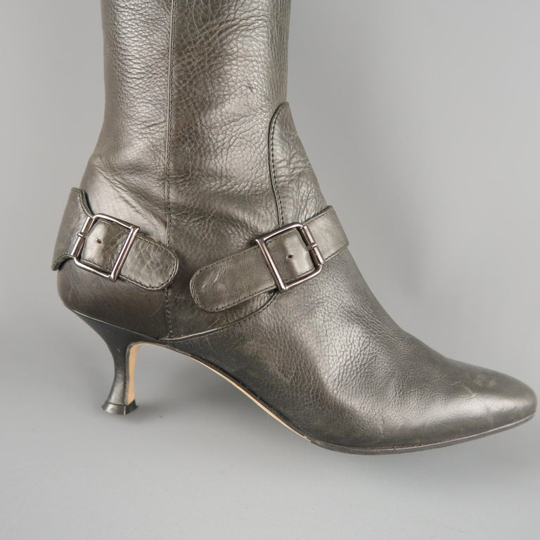 Women's MANOLO BLAHNIK Size 6.5 Slate Gray Leather Pointed Knee High Boots For Sale