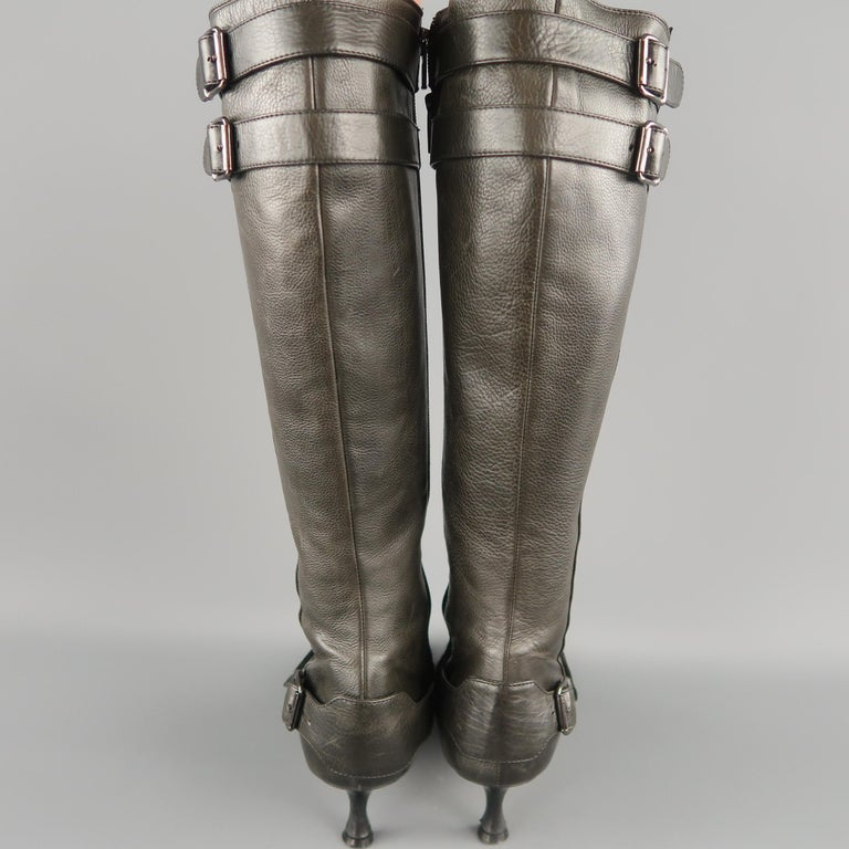 MANOLO BLAHNIK Size 6.5 Slate Gray Leather Pointed Knee High Boots For Sale 2