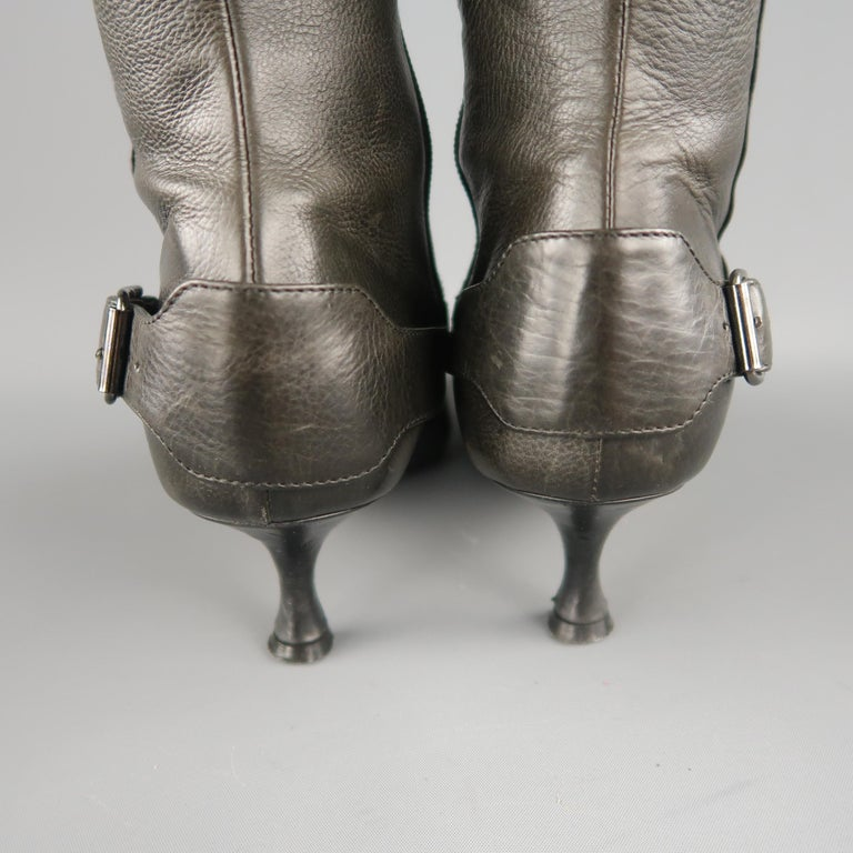 MANOLO BLAHNIK Size 6.5 Slate Gray Leather Pointed Knee High Boots For Sale 3
