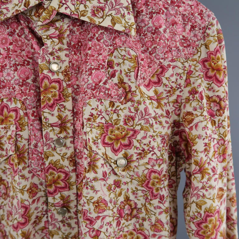 a5dba64f1 GUCCI by TOM FORD Size S Pink & Brown Floral Cotton Long Sleeve Western  Shirt In