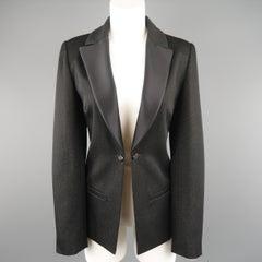 CHANEL Size 10 Black Sparkle Twill Satin Peak Lapel Tuxedo Jacket