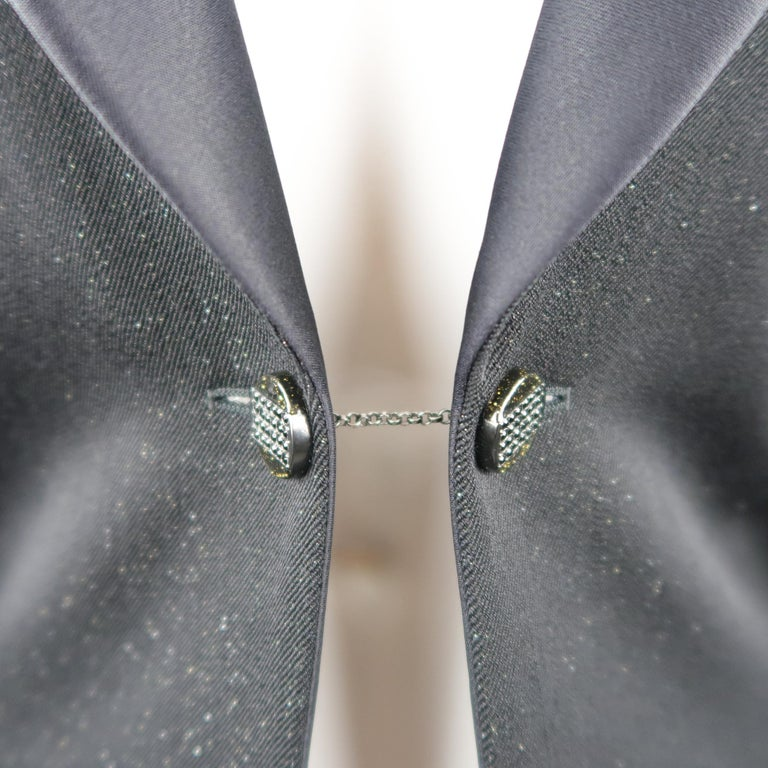 CHANEL Size 10 Black Sparkle Twill Satin Peak Lapel Tuxedo Jacket In Excellent Condition For Sale In San Francisco, CA