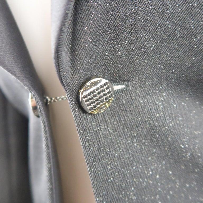 Women's CHANEL Size 10 Black Sparkle Twill Satin Peak Lapel Tuxedo Jacket For Sale