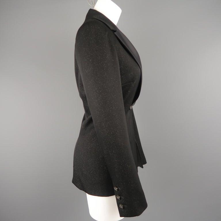 CHANEL Size 10 Black Sparkle Twill Satin Peak Lapel Tuxedo Jacket For Sale 1