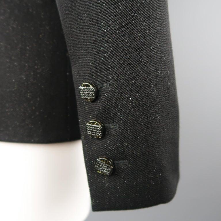 CHANEL Size 10 Black Sparkle Twill Satin Peak Lapel Tuxedo Jacket For Sale 2