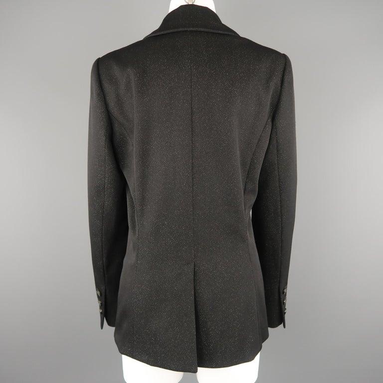 CHANEL Size 10 Black Sparkle Twill Satin Peak Lapel Tuxedo Jacket For Sale 3