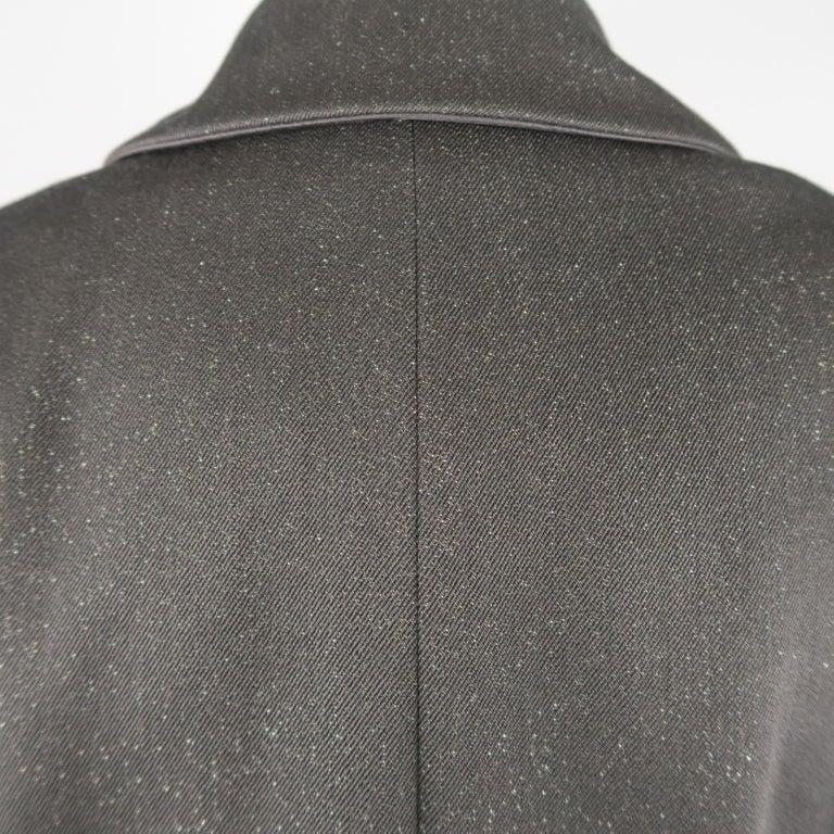 CHANEL Size 10 Black Sparkle Twill Satin Peak Lapel Tuxedo Jacket For Sale 4