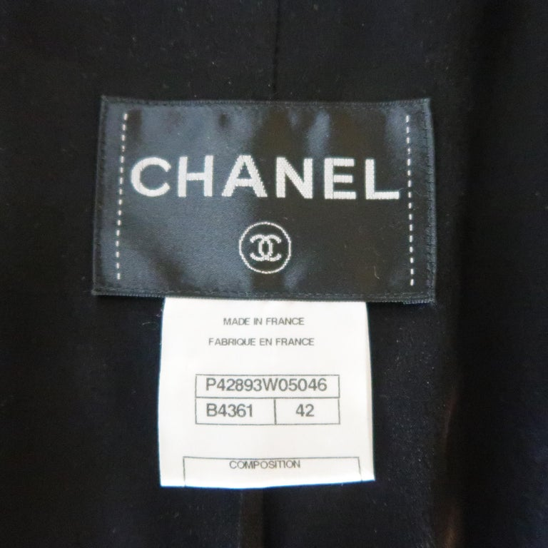 CHANEL Size 10 Black Sparkle Twill Satin Peak Lapel Tuxedo Jacket For Sale 5