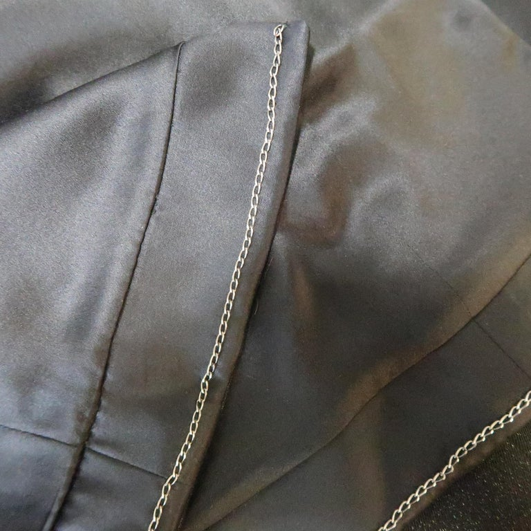 CHANEL Size 10 Black Sparkle Twill Satin Peak Lapel Tuxedo Jacket For Sale 6