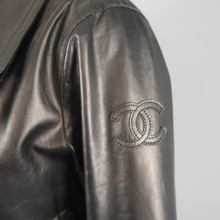 CHANEL Leather Jacket - Size 10 Black Quilted Leather CC Zip Motorcycle Jacket For Sale 3
