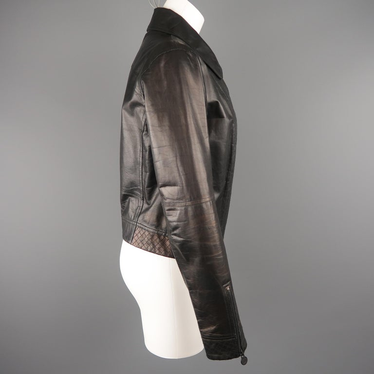 CHANEL Leather Jacket - Size 10 Black Quilted Leather CC Zip Motorcycle Jacket For Sale 5