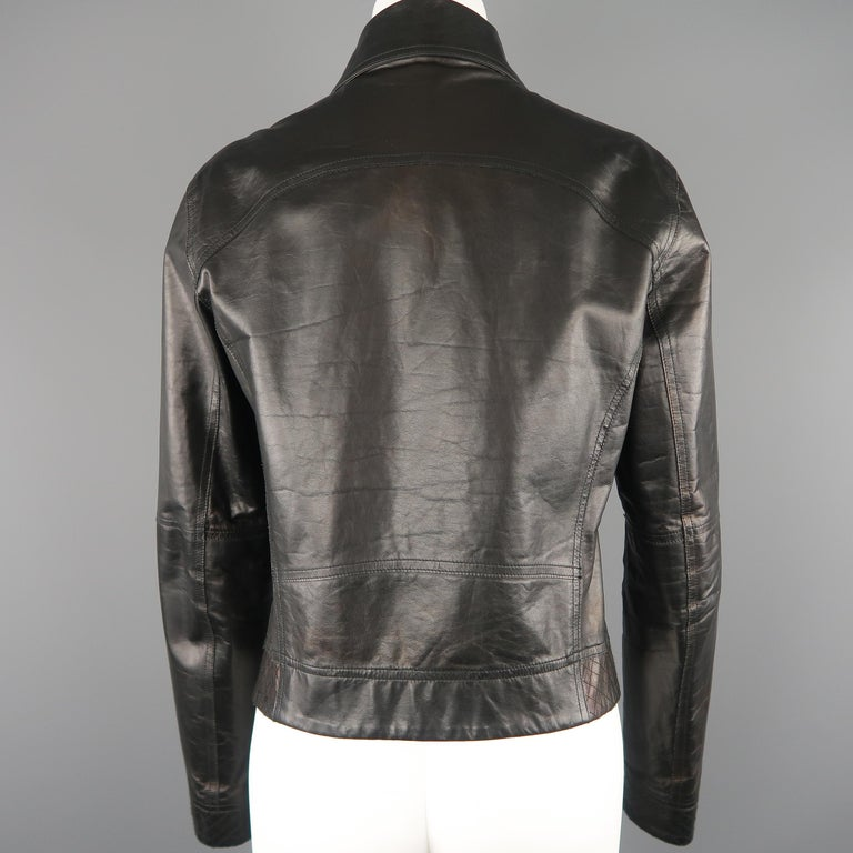 CHANEL Leather Jacket - Size 10 Black Quilted Leather CC Zip Motorcycle Jacket For Sale 7