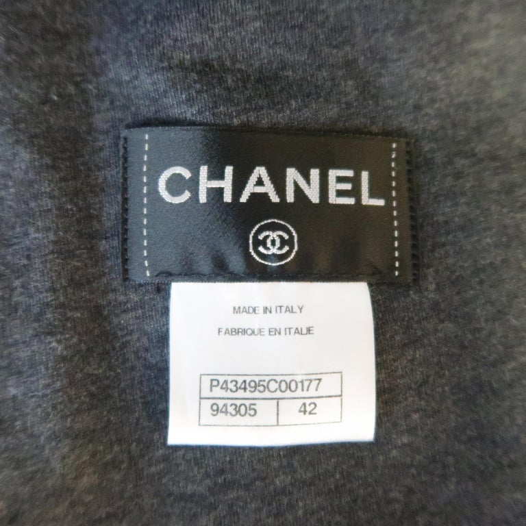 CHANEL Leather Jacket - Size 10 Black Quilted Leather CC Zip Motorcycle Jacket For Sale 9
