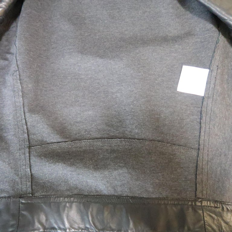 CHANEL Leather Jacket - Size 10 Black Quilted Leather CC Zip Motorcycle Jacket For Sale 10