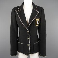 CHANEL Size 6 Black Wool Blend Boucle Trim No. 5 Blazer Jacket