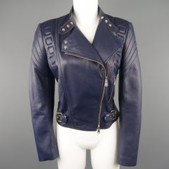 RALPH LAUREN Size 8 Navy Leather Padded Motorcycle Jacket
